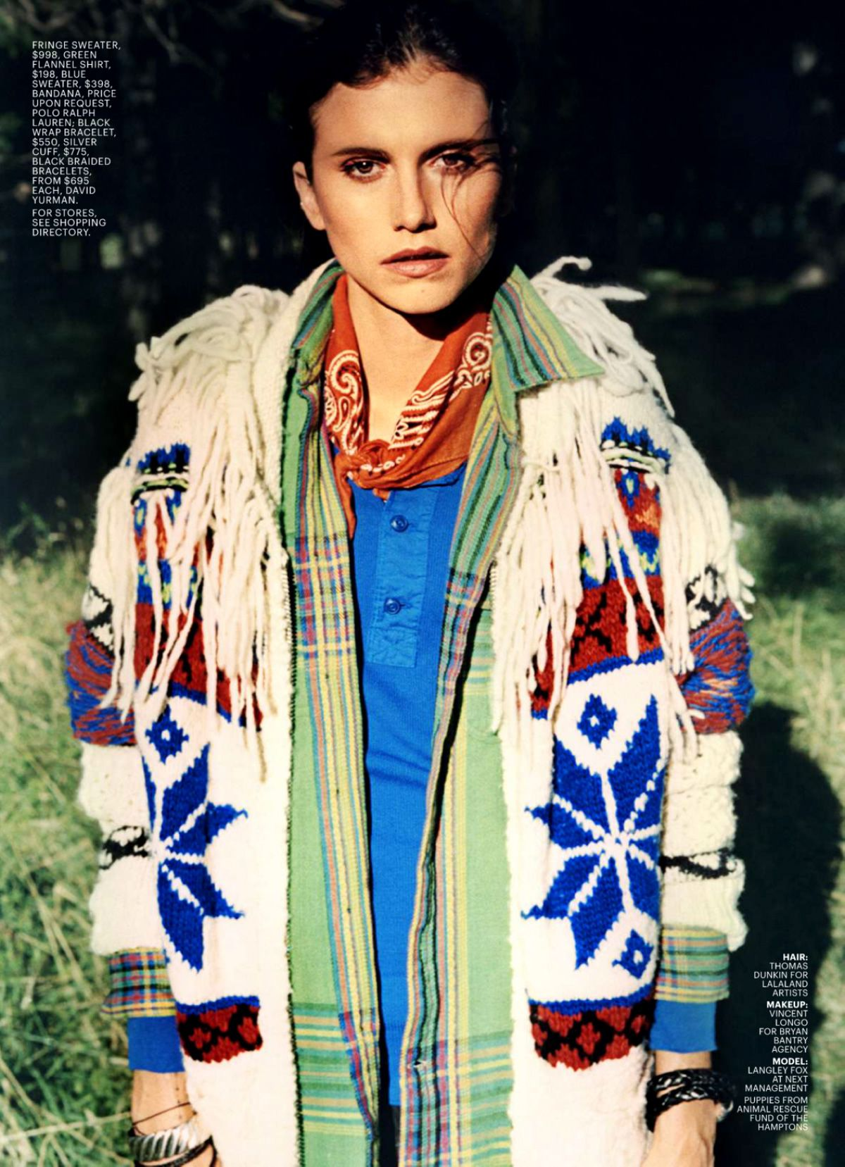 Flannel fashion makeup  Langley Fox Hemingway by Elina Kechicheva for Marie Claire US