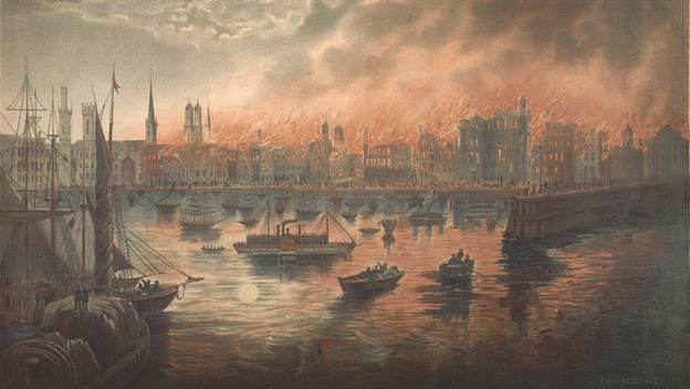 Great Chicago Fire Begins Today In History History Chicago Fire