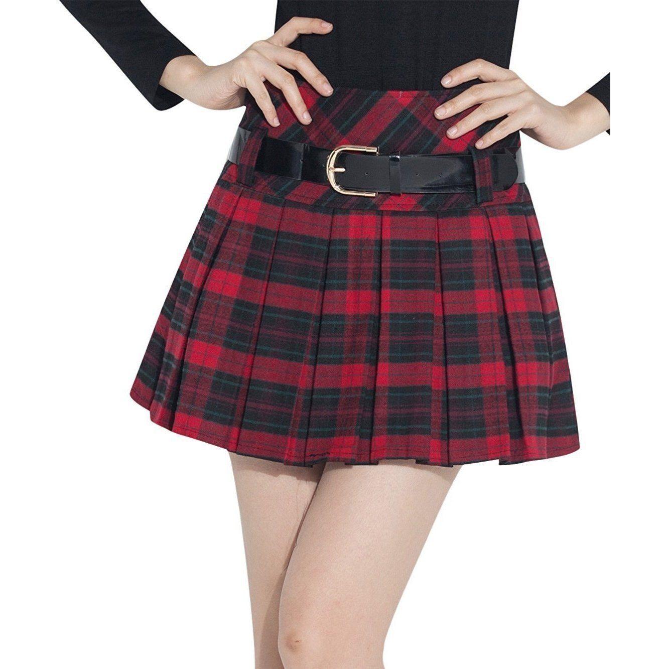 b485a979aa Women's Sexy Red & Black Plaid Catholic School Girl Pleated Mini Skirt