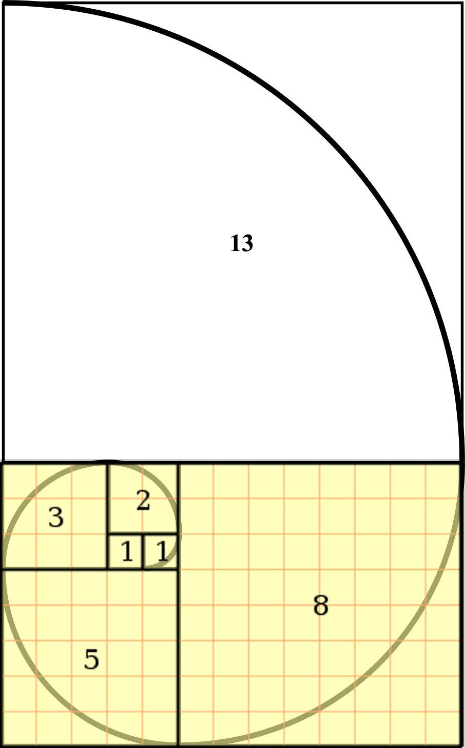 Love this concept of the fibonacci spiral each square for Golden ratio artwork
