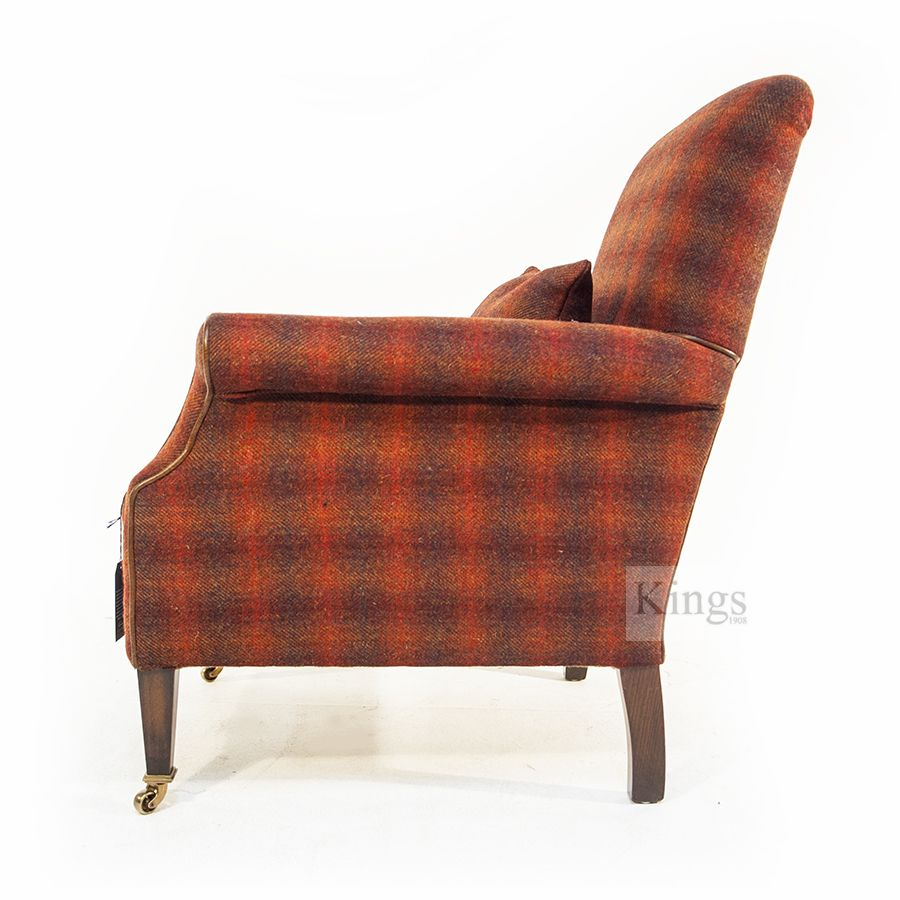 Side view of Tetrad's Bowmore chair in Autumn Check cloth http://www.kingsinteriors.co.uk/brands/tetrad-harris-tweed/tetrad-harris-tweed-bowmore-chair