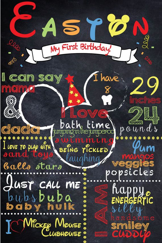 Mickey Mouse First Birthday Chalkboard Poster Boy by PinkAppleInk