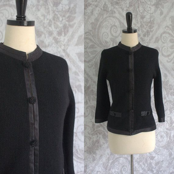 1960s Black Wool Button Up Sweater Cardigan with Silk Trim $32