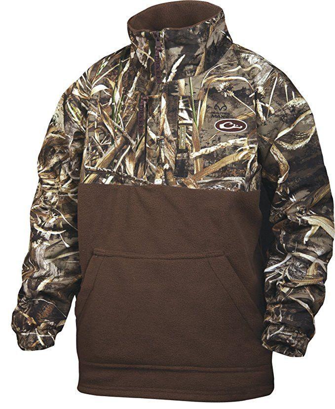 1491ecd1108f2 Drake Waterfowl DW3020-015-12 Youth Eqwader 1/4 Zip Shirt Jacket Max5