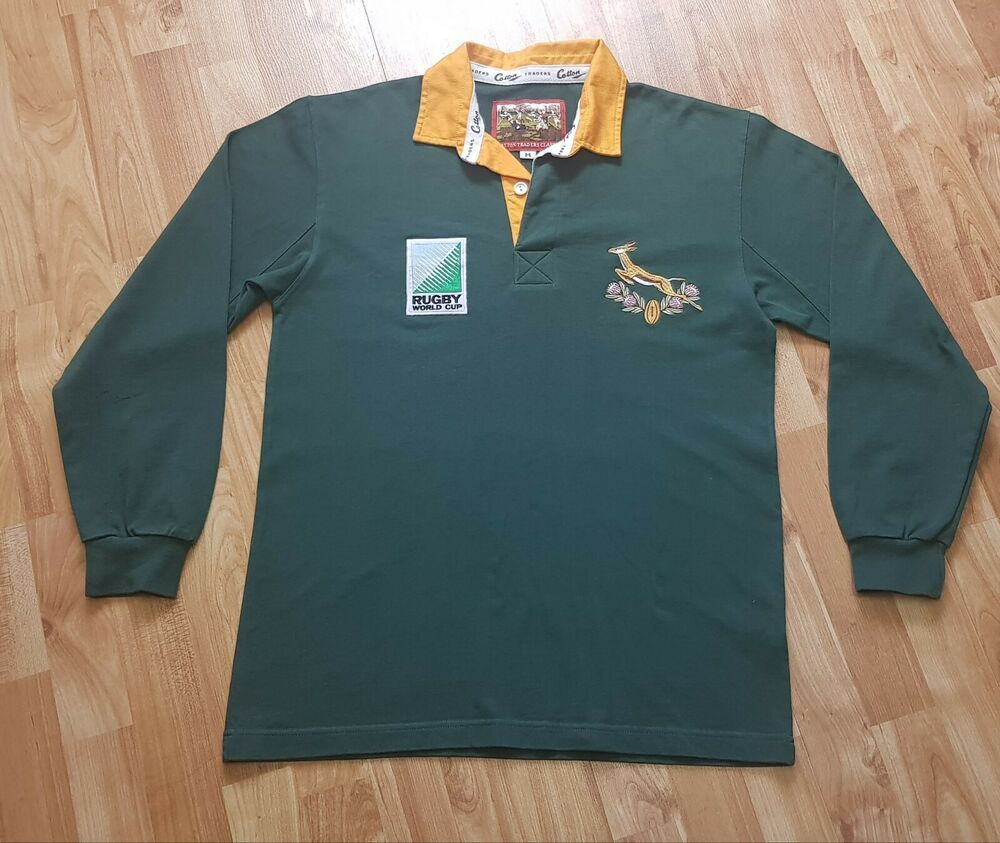 South Africa Springboks 1995 Vintage Cotton Traders Rugby Jersey Shirt In 2020 Rugby Jersey Jersey Shirt Cotton Traders