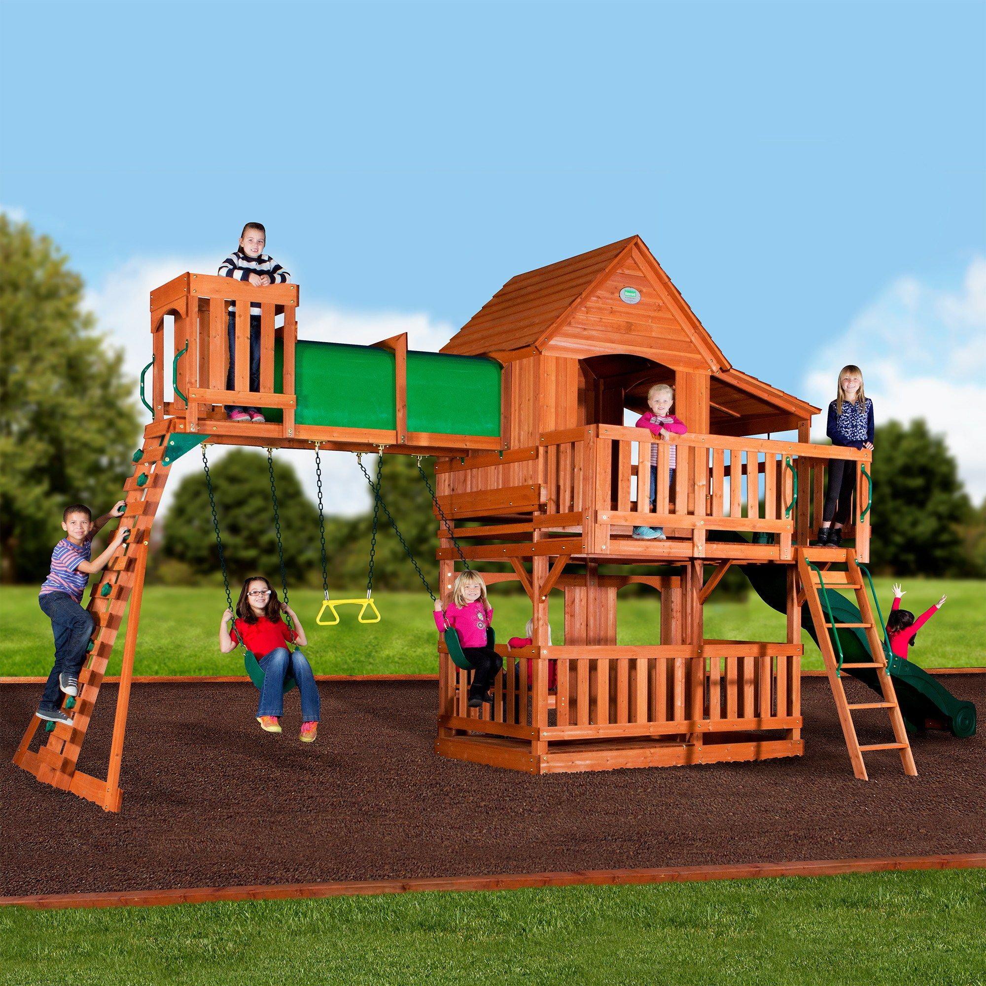 outdoor kids ii playset sets set pin swing skyfort wooden play and fort