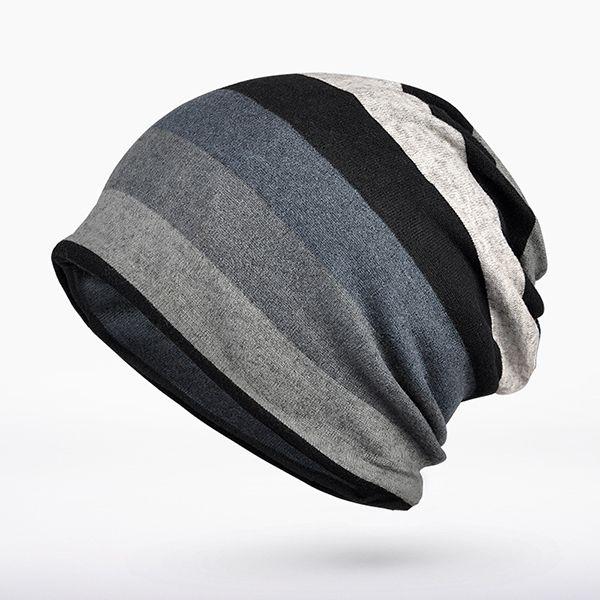 03df74d008b Women Mens Knitted Stripe Beanie Hat Outdoor Autumn Warm Cap Scarf Dual Use