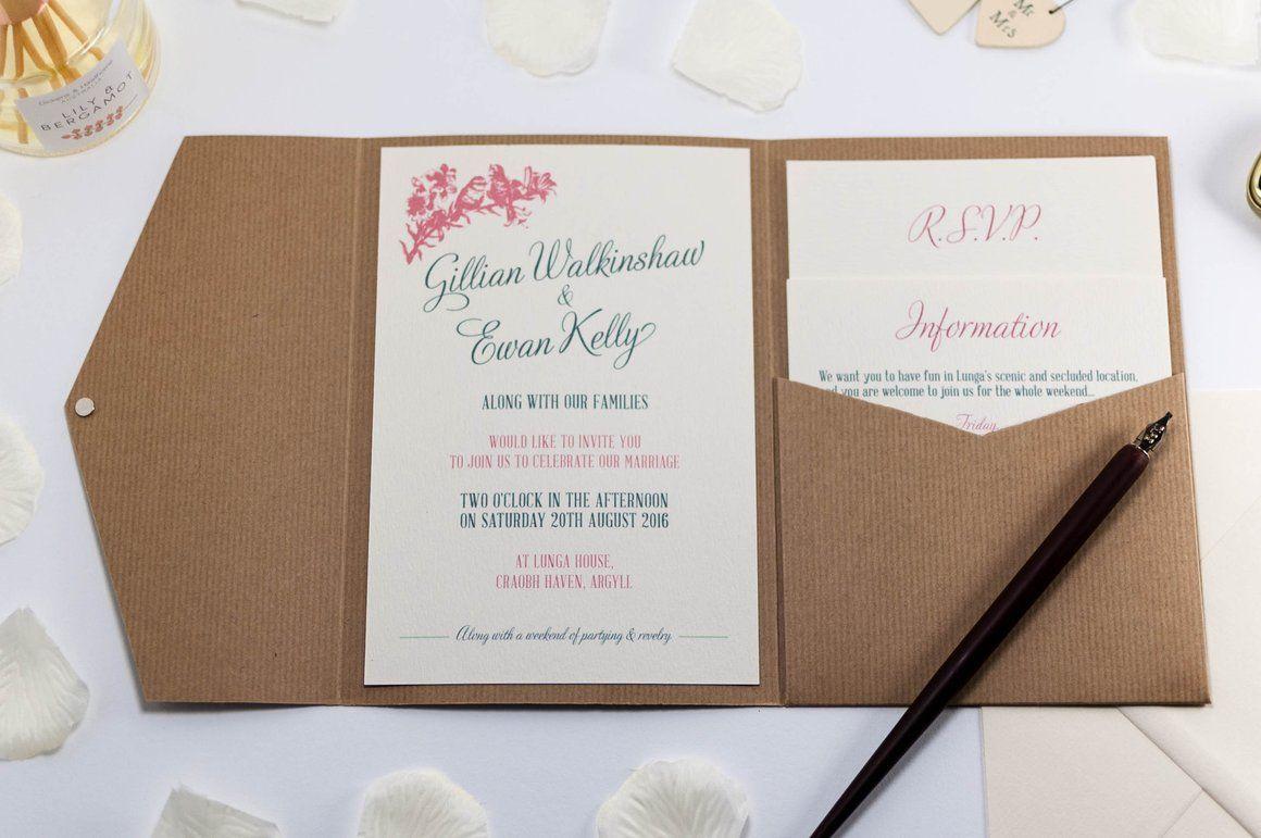 Vintage Birds Wedding Invitation in Kraft Pocketfold - Luxury ...