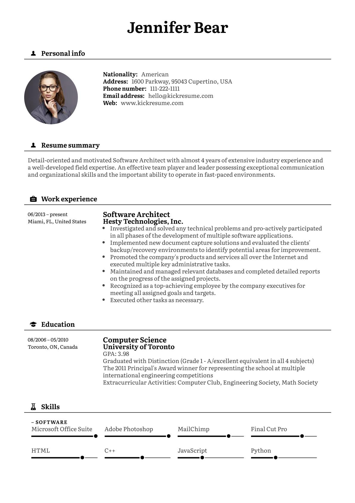 Software Architect Resume Example Architect Resume Cover Letter For Resume Cover Letter Builder