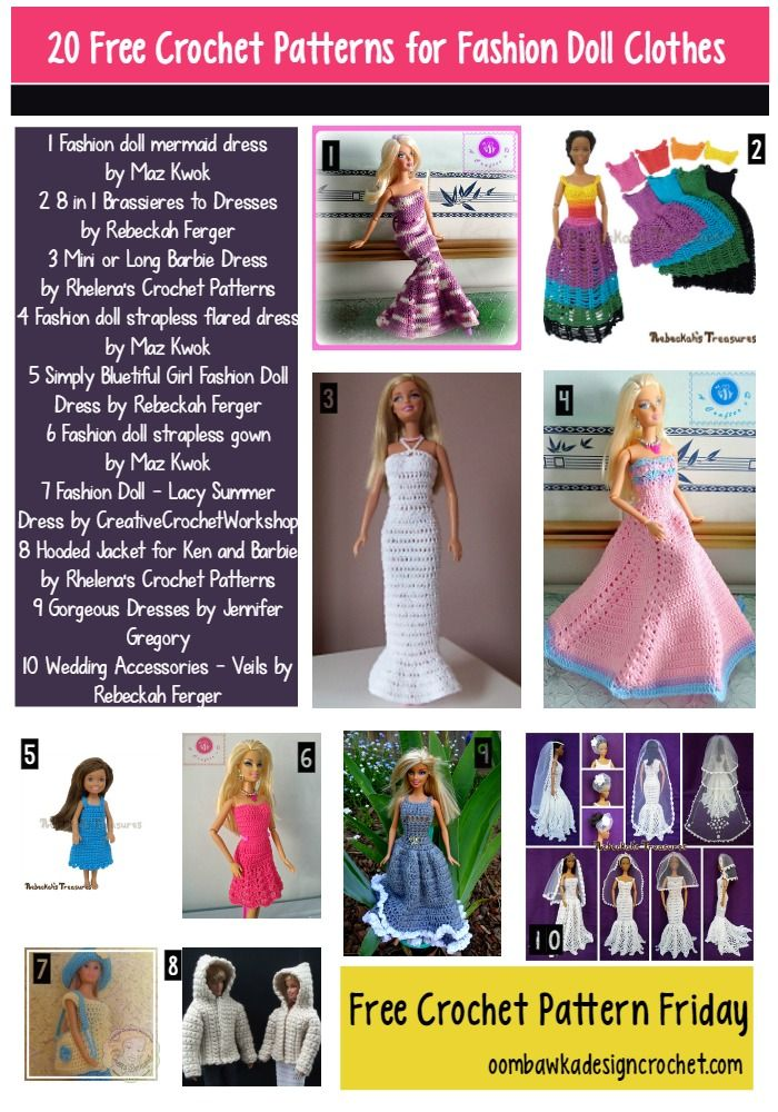 20 Free Patterns for Fashion Doll Clothes