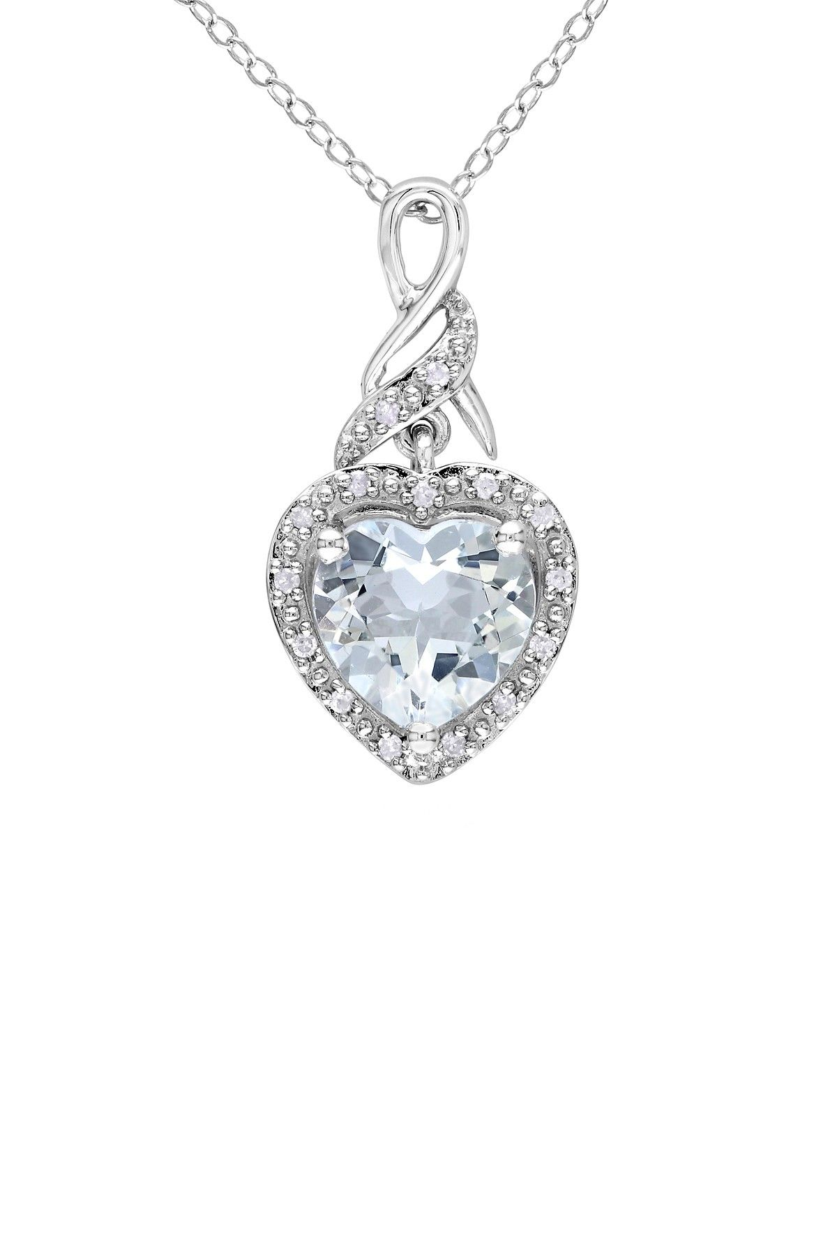 Sterling silver diamond halo aquamarine heart pendant necklace sterling silver diamond halo aquamarine heart pendant necklace 006 ctw fashion pinterest nunca es suficiente joya y joyeras aloadofball Gallery