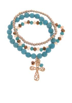 Kim Rogers Multi Gold-Tone Howlite Cross Stretch Bracelet Set