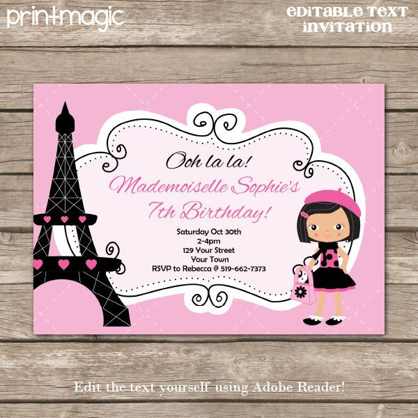 instant download pink paris party invitation by printmagic, $6.95, Birthday invitations
