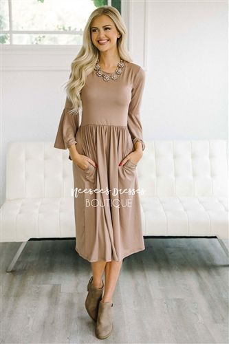 bf3fc2ebe927 Solid Taupe Bell Sleeve Modest Dress | Best Online Modest Boutique for  Dresses | Cute Modest Clothes for Church