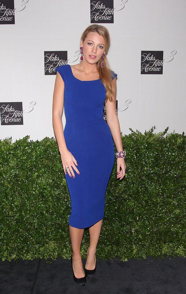 Blake Lively Photos Photos Saks Fifth Avenue Celebrates The New Third Floor Blue Party Dress Blue Cocktail Dress Dresses