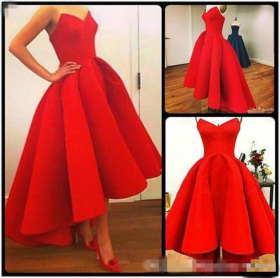 new red high low prom dresses ball gown corset party