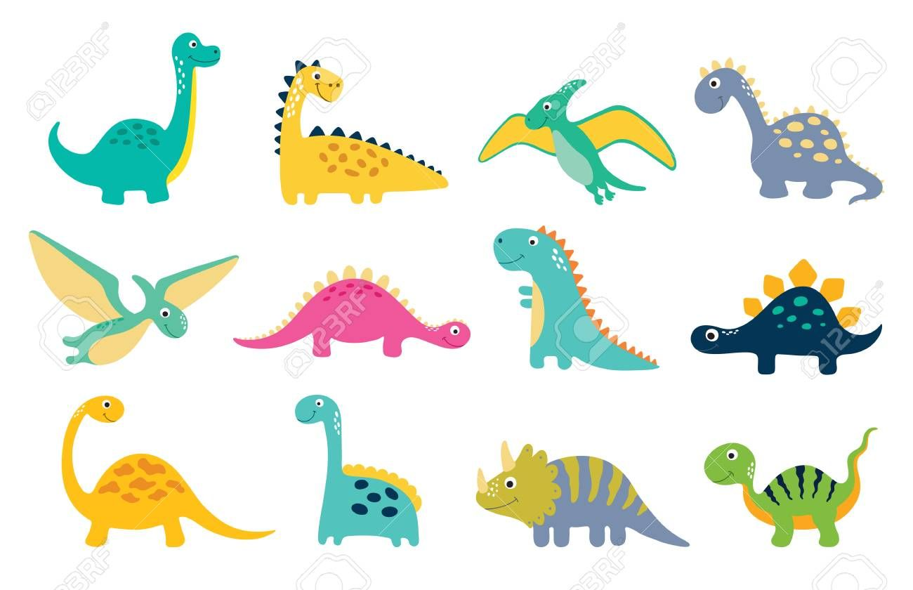 Cute Dino Illustrations Set On White Background Aff Illustrations Dino Cute Background White Cartoon Dinosaur Funny Cartoon Dinosaur