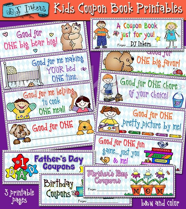 Kids Coupons book printable, coupons for kids, kid gifts for parents
