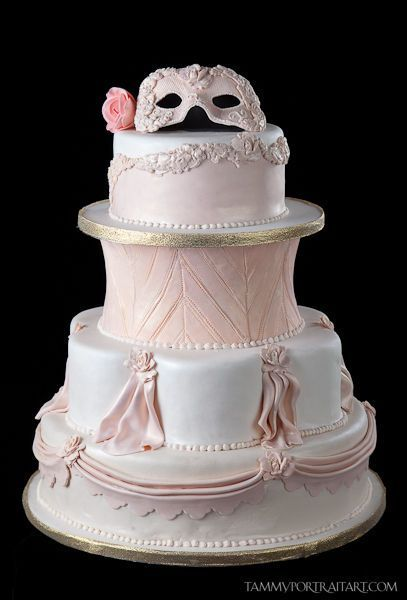 Masquerade cake make fabulous cakes A festive pink and black