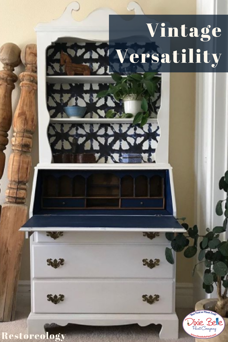 Vintage Versatility This Vintage Secretary Desk Was Painted With Dixie Belle Paint Colors Bun Blue Painted Furniture White Painted Furniture Painted Furniture