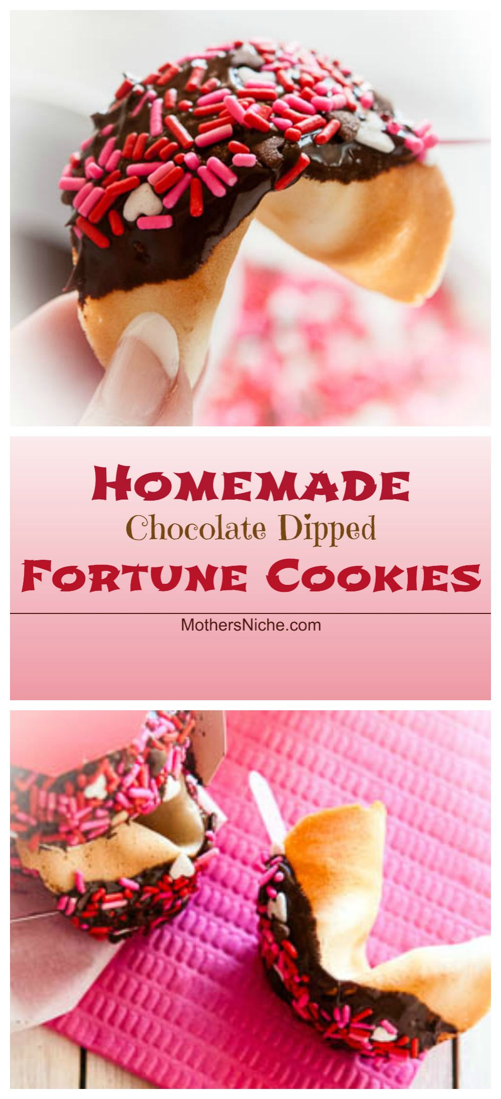 Personalize Valentines for your friends and loved ones with Homemade Fortune Cookies Dipped in Chocolate AND Sprinkles!