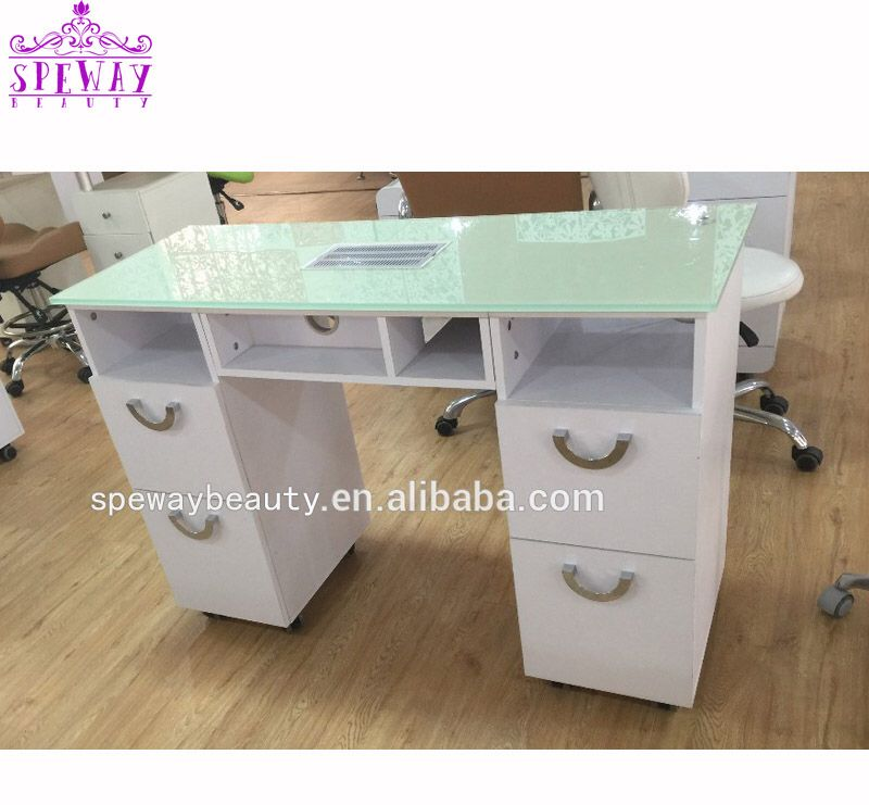 White Glass Top Manicure Table With Vent In 2020 White Glass Home Decor