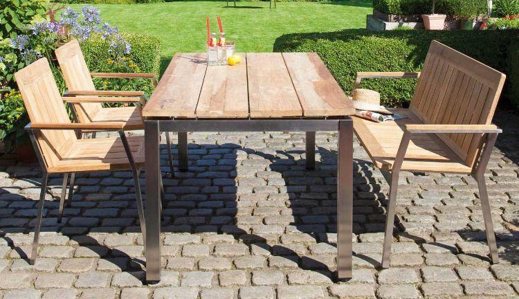 Robuster Gartentisch Aus Edelstahl Teak Massivholz In 3 Grossen 90