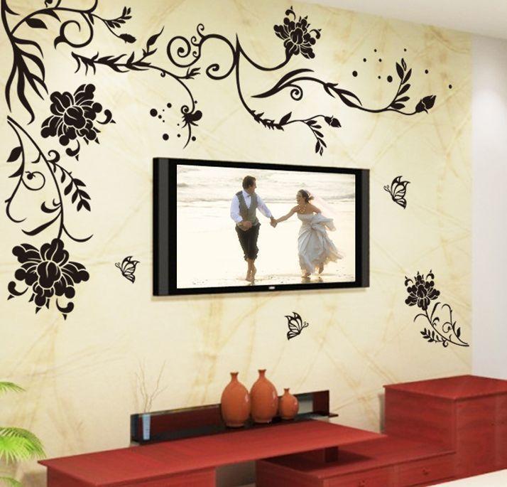 wandtattoo wandsticker blumen schlafzimmer wohnzimmer aufkleber haus dekoration murals. Black Bedroom Furniture Sets. Home Design Ideas