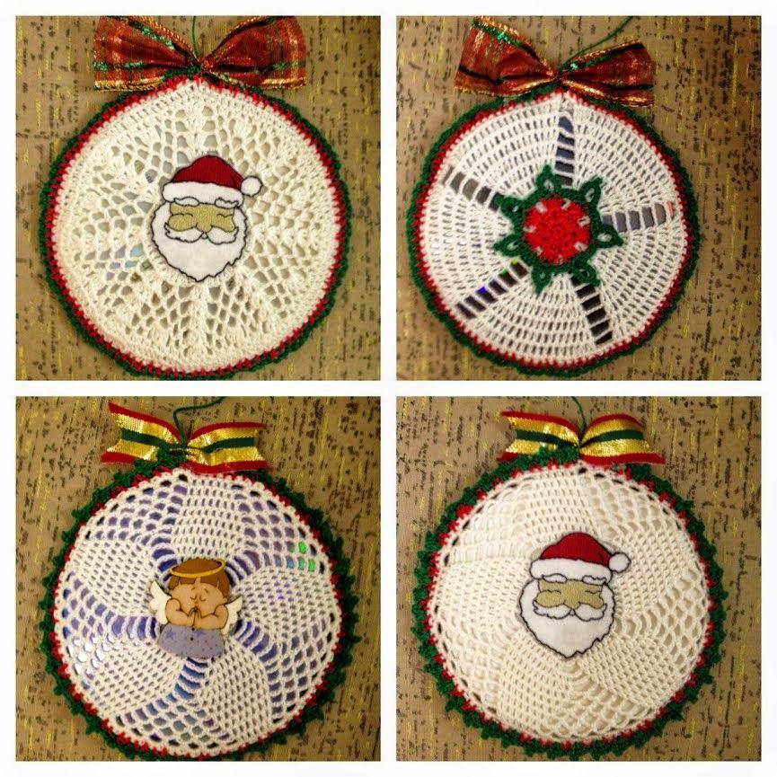 Manualidades con cd a crochet buscar con google - Adornos colgantes de navidad ...
