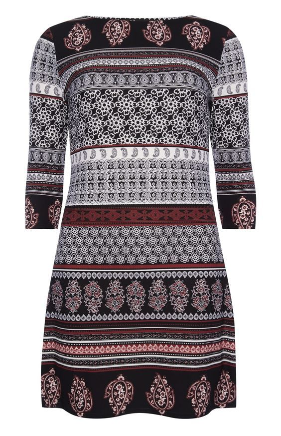 bd47199ec14 Primark - Black Red Paisley Stripe Slinky Tunic | fashion inspo ...