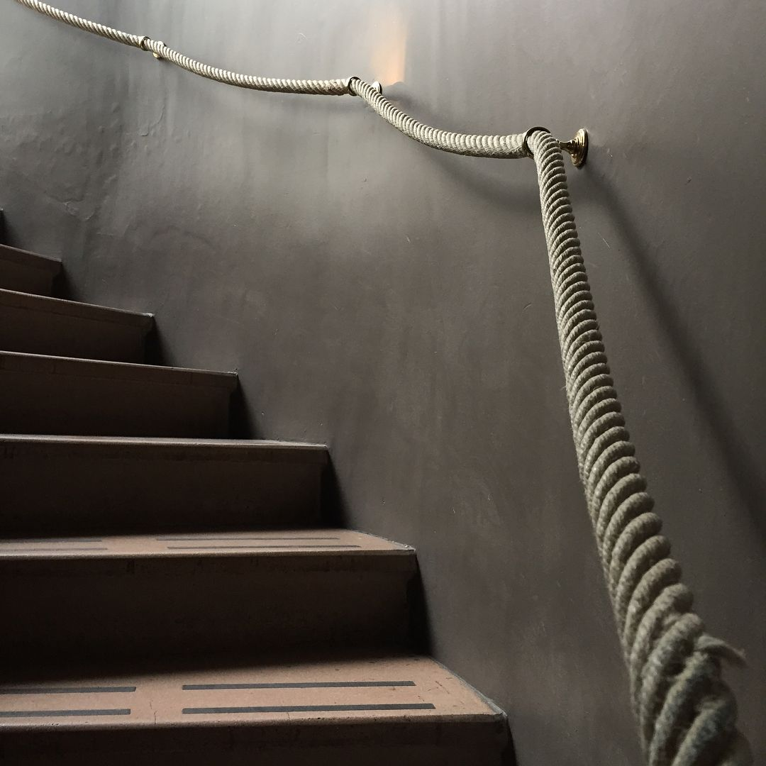 Grey Wall Wooden Stairs Rope Decor Rope Hand Rail Stairway