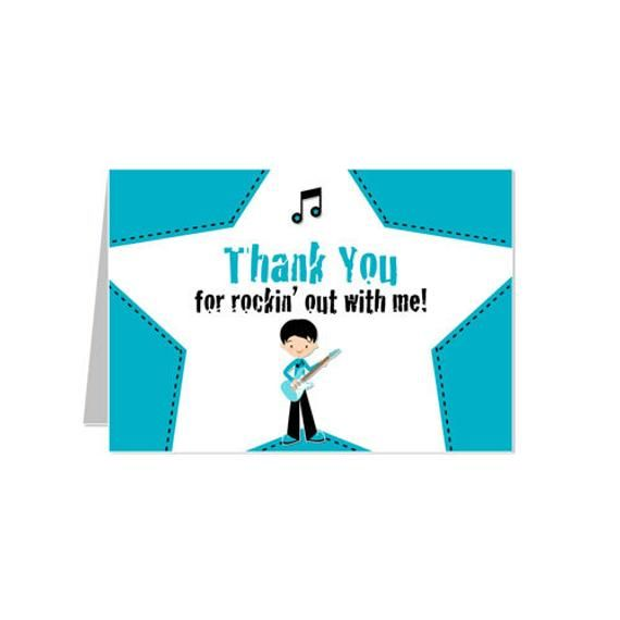 PRINTABLE Boy or Girl Rock Star Party Thank You Card #rockstarparty