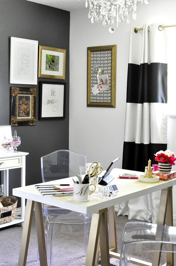 This Black White Gold Home Office Is Filled With Diy
