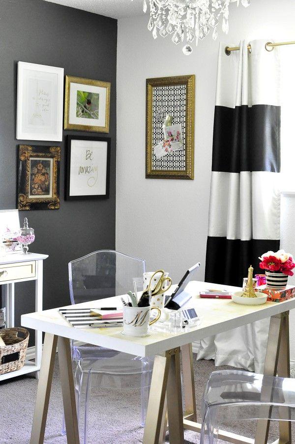 Black White Gold Home Office Reveal White Office Decor White