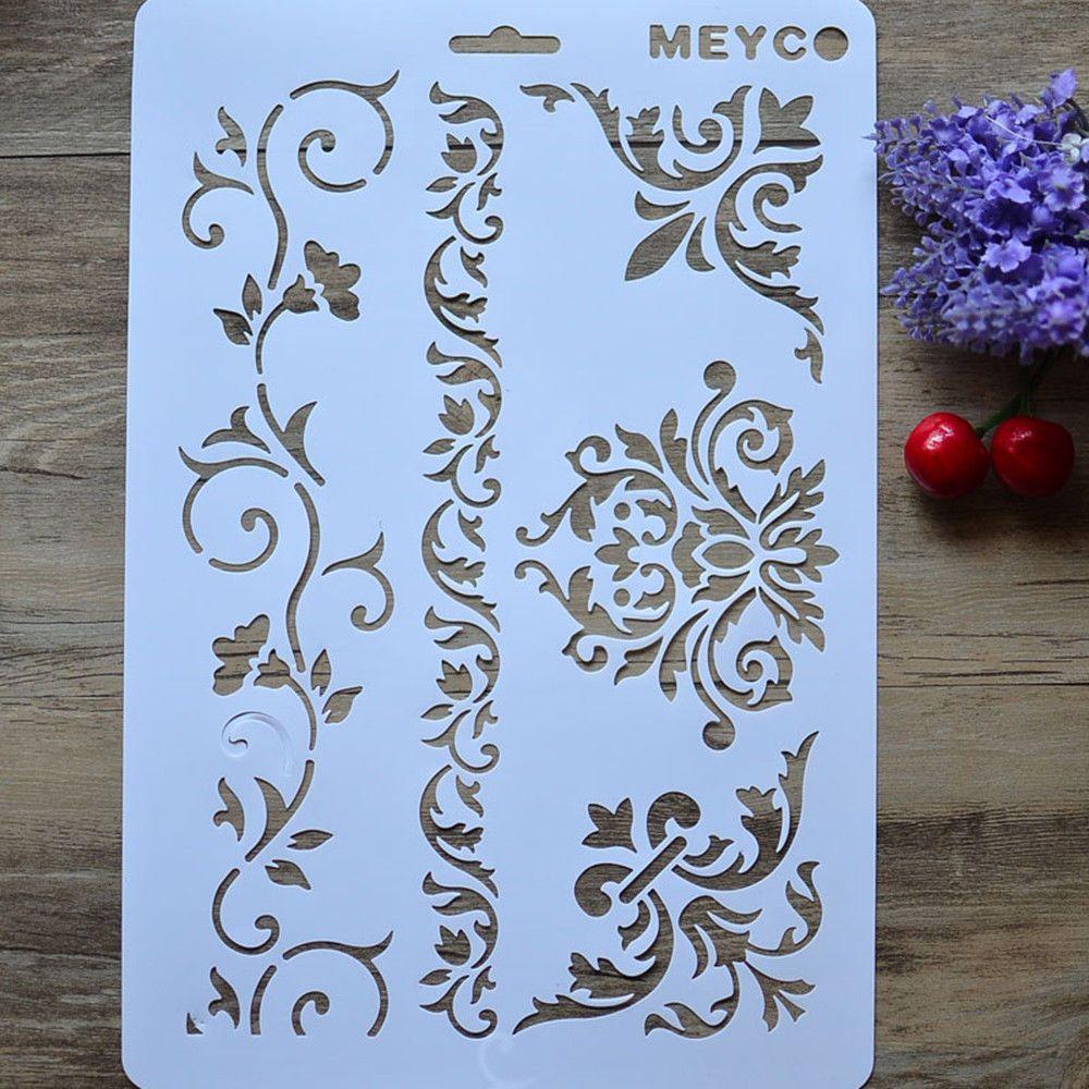 Plastic Layering Stencils Scrapbooking Embossing Template DIY Painting Flower