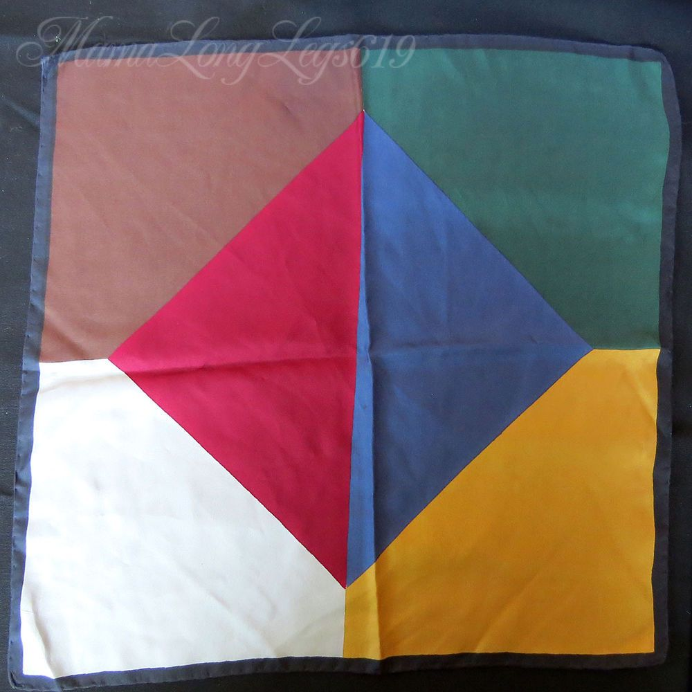 Large Vintage Ashear Six-Color All Silk Pocket Square Handkerchief Solid Italy #Ashear #Patterned