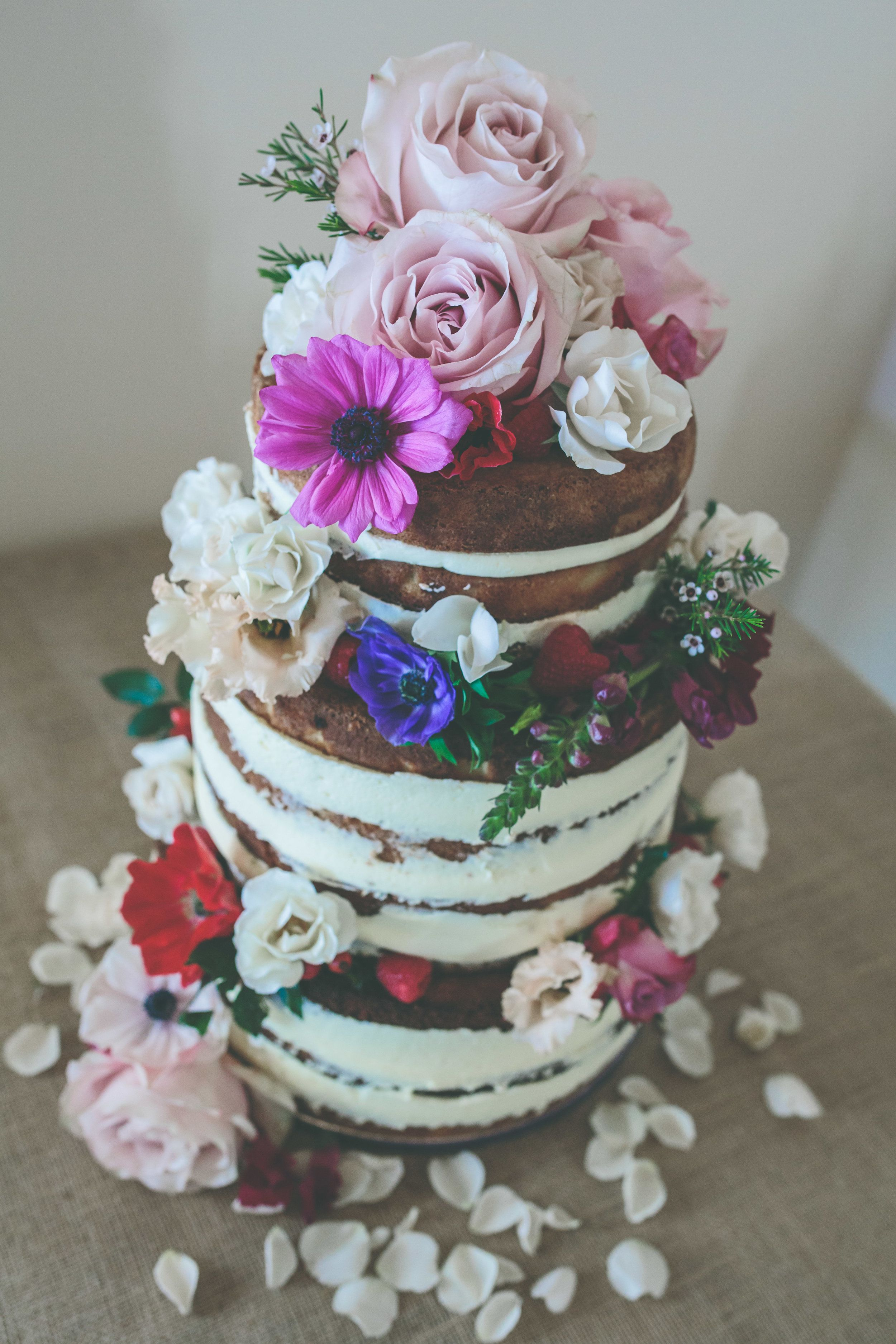 Real Flower Wedding Cake Decoration On Hessian Table Rustic Decor For Rural Shropshire