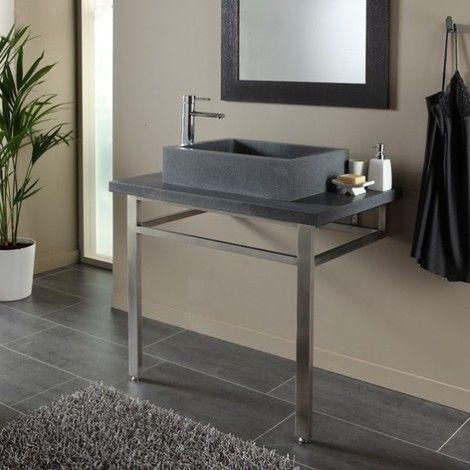 Ensemble plan + vasque pierre naturelle gris ardoisé moderne - Salle