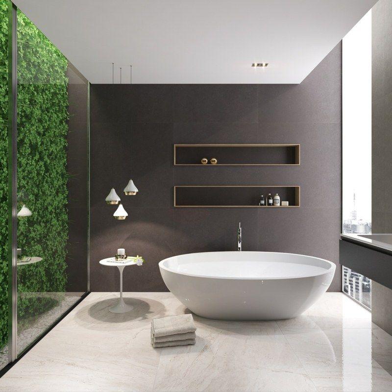 Ein Modernes Luxus Bad Mit Einem Vertikalen Garten Dekorieren Stil Fabrik