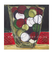 'Baubles In A Glass Jar', acrylic on canvas, 40 x 40cms,  Hiawyn Oram
