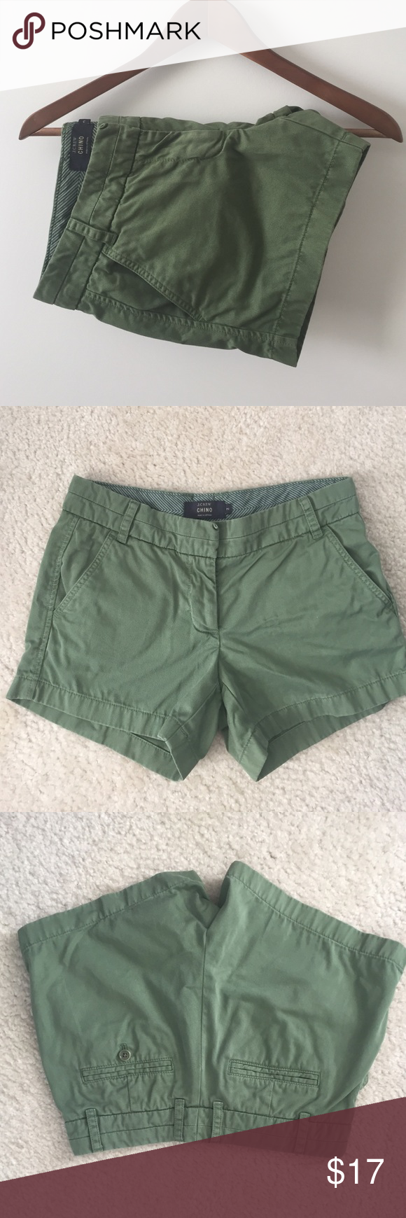 """J. Crew 4"""" chino shorts Bummed I have to re-posh these, but decided I need a longer inseam. Shorts are in excellent condition. True green. Size 2. J. Crew Shorts"""