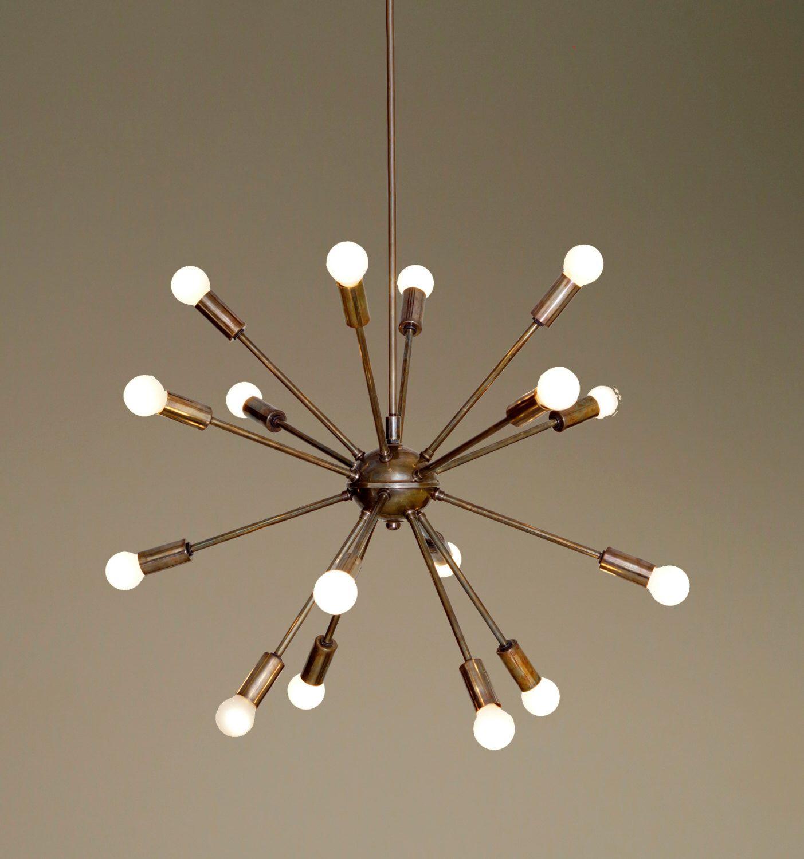 mid century modern patina brass sputnik chandelier 16 arms
