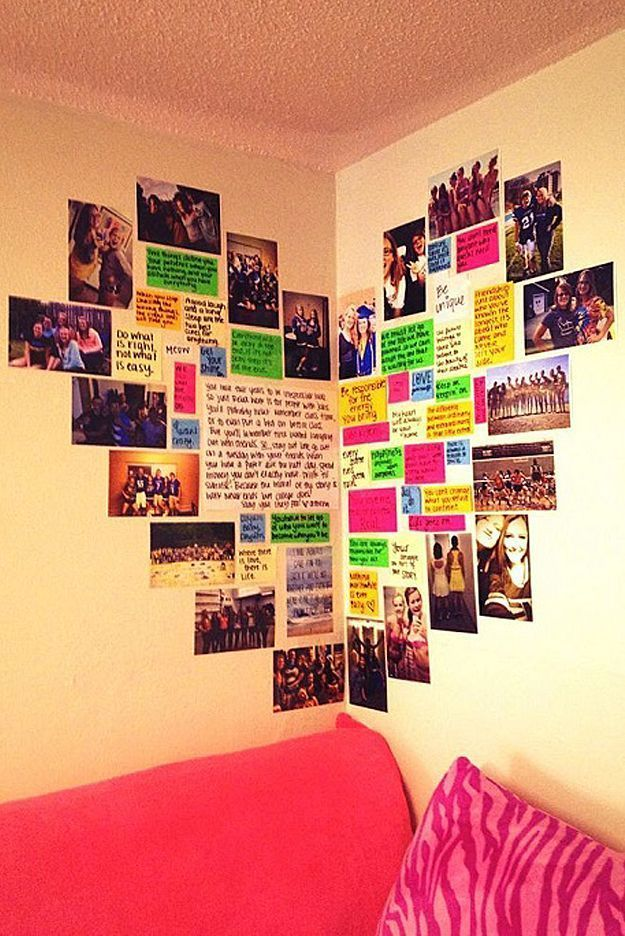 College Dorm Wall Decor a cute way to hang pictures up in your room | love | pinterest