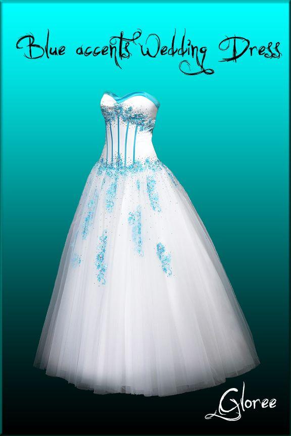 Blue Wedding Dresses | Blue Accents Wedding Dress By ~Gloree On DeviantART