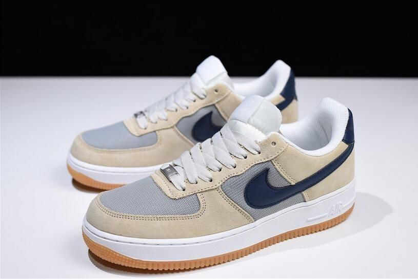 Men's Nike Air Force 1 Low Suede MushroomLight Grey Navy