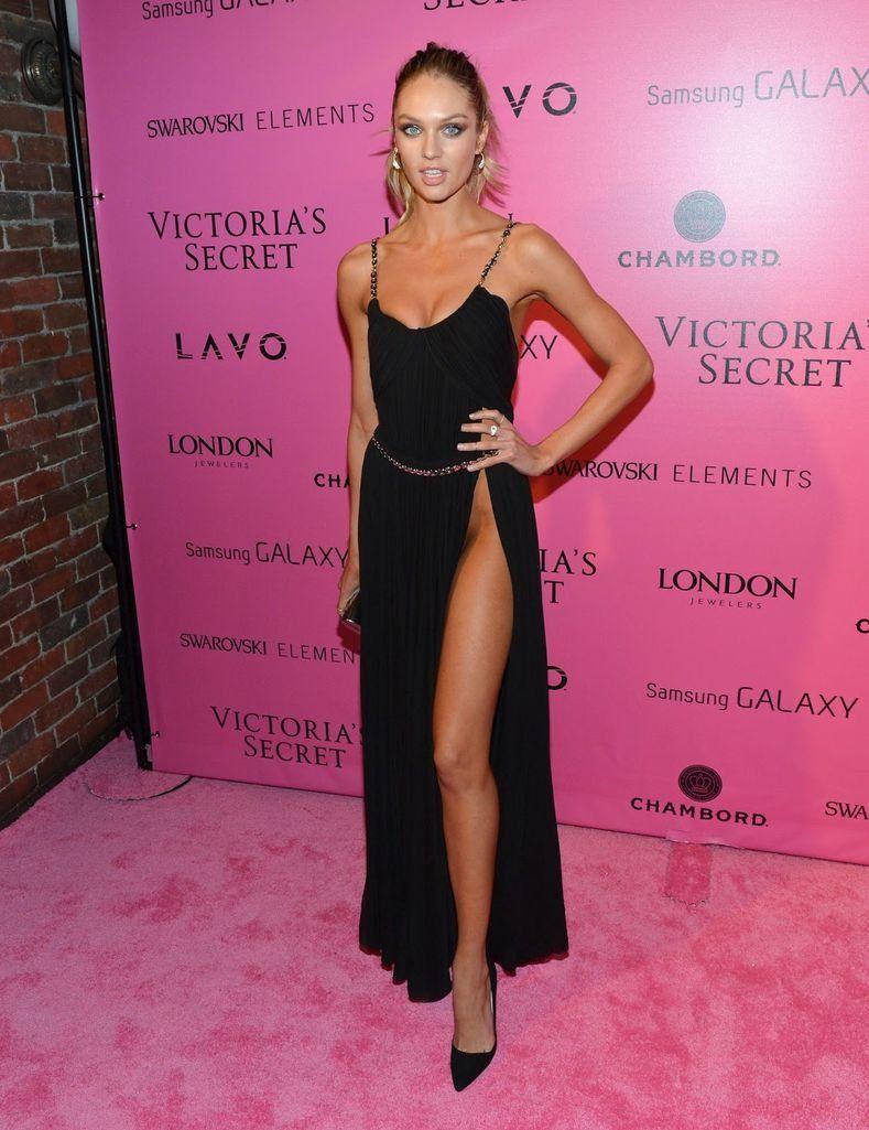 Candice Swanepoel - Black Dress with Side Slit - Victoria\'s Secret ...