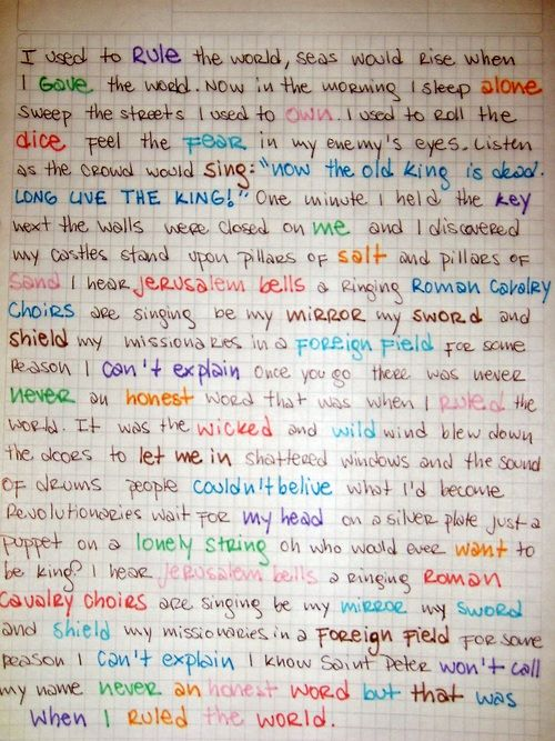 Pin By K On Confessions Of A Teenage Me Coldplay Coldplay Music Music Lyrics