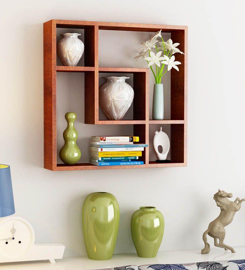 Superb Home Sparkle Brown Square Shelf By Home Sparkle Online   Wall Shelves   Home  Decor