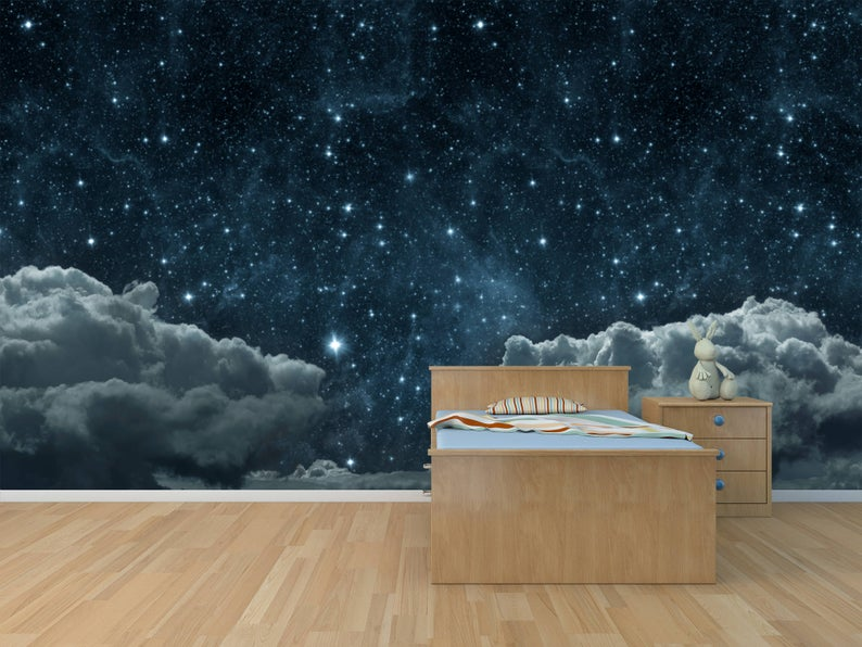 Sky With Stars And Clouds Self Adhesive Peel And Stick 3d Etsy Wall Wallpaper Photo Wallpaper Star Sky