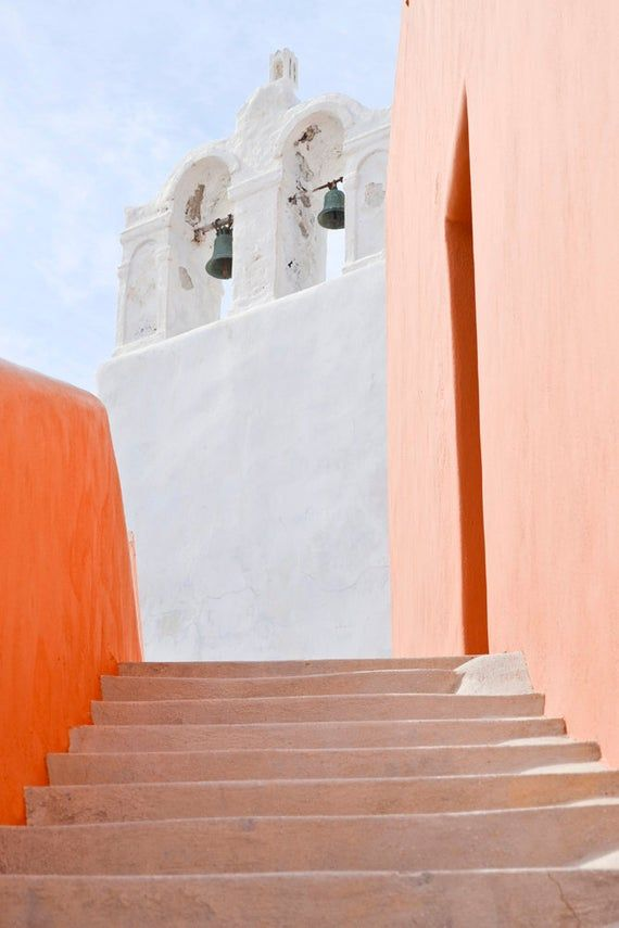 Pink Santorini Print Greece Photography Mediterranean | Etsy